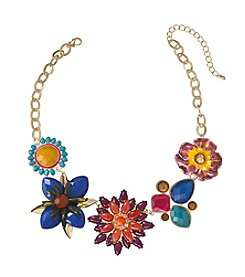 Relativity® Multicolor And Goldtone Floral Frontal Necklace