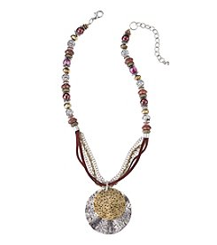 Laura Ashley® Two Tone Beaded With Cord And Metal Pendant Necklace