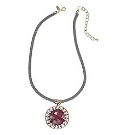 Laura Ashley® Goldtone And Grey Braided Cord And Berry Pendant Necklace