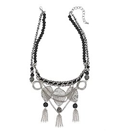 Relativity® Black and Rhodium Textured Drop Frontal Necklace