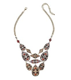 Relativity® Two Tone with Burgundy Enamel Frontal Necklace