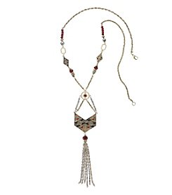 Relativity® Brass Tone Burgundy Enamel Geo Tassel Necklace