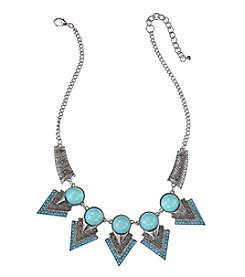Relativity® Silvertone with Turquoise Stones and Cabochons Frontal Necklace