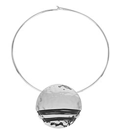 Robert Lee Morris Soho™ Silvertone Hammered Texture Wire Wrapped Round Pendant Necklace
