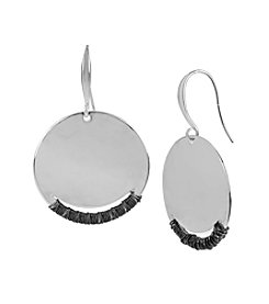Robert Lee Morris Soho™ Silvertone Hammered Texture Wire Wrapped Round Drop Earrings