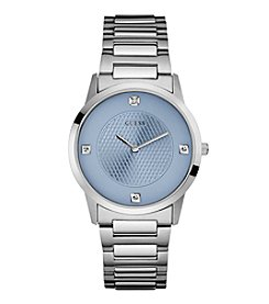 GUESS Men's Silvertone Blue Dial Watch