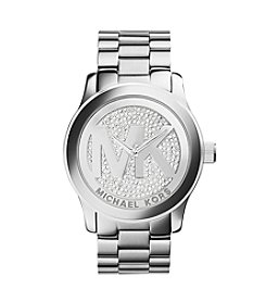 Michael Kors® Women's Silvertone Runway Glitz Logo Watch