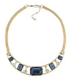 Carolee® Goldtone Blue Note Frontal Stone Necklace