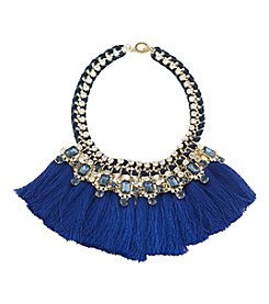 Carolee® Goldtone Blue Note Dramatic Frontal Tassel Necklace