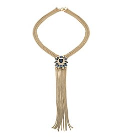 Carolee® Goldtone Blue Note Cluster Tassel Necklace