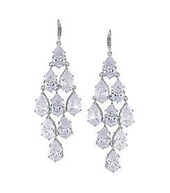 Carolee® Silvertone Upper East Side Clear Crystal Kite Chandelier Pierced Earrings