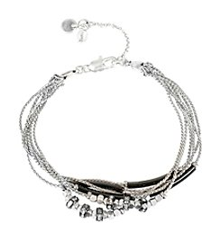 Kenneth Cole® Pave Mixed Silvertone And Black Bead Multi Row Bracelet