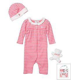 Ralph Lauren Childrenswear Baby Girls' Striped Coverall Gift Set