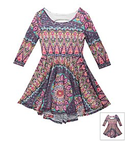 Rare Editions® Girls' 7-16 Peacock Pattern Dress