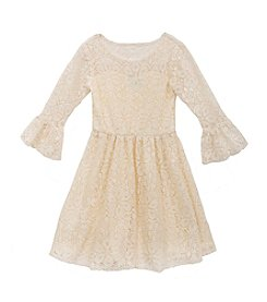 Rare Editions® Girls' 7-16 Bell Sleeve Lace Dress
