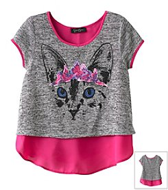 Jessica Simpson Girls' 7-16 Princess Kitty Layered Top