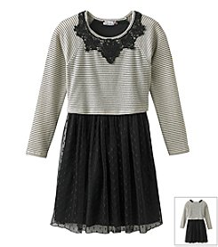 Speechless® Girls' 7-16 Striped Top With Solid Skirt Dress
