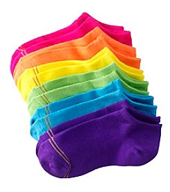 GOLD TOE® Girls' 6 Pack Bright Ballet Flat Socks