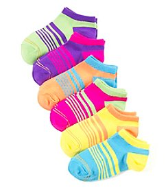 GOLD TOE® Girls' 6 Pack Striped Ballet Flat Socks