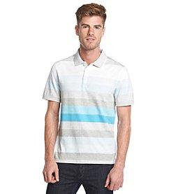 Calvin Klein Men's Short Sleeve Heathered Stripe Polo