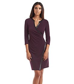 Calvin Klein Faux Leather Trimmed Seamed Dress