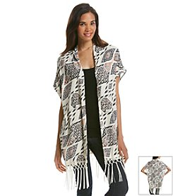 Vince Camuto® Tapestry Print Open Front Jacket