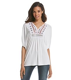 Fever™ Embroidered Peasant Top