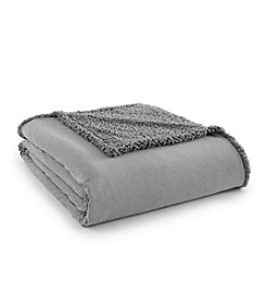 Shavel Home Products Micro Flannel® Greystone Sherpa Blanket