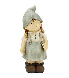 Young Gnome Girl Daydreaming Outdoor Patio Garden Statue