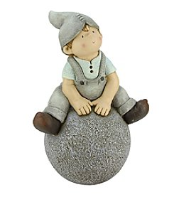Young Gnome Boy Sitting on Ball Outdoor Patio Garden Statue