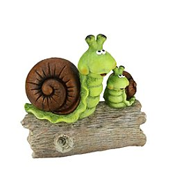 Green and Brown Snails on a Stump Outdoor Patio Garden Statue