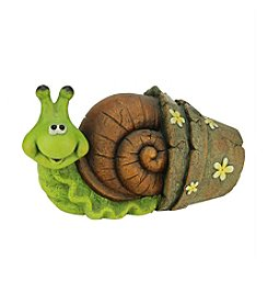 Green and Brown Snail Crawling Out of a Flower Pot Outdoor Patio Garden Statue