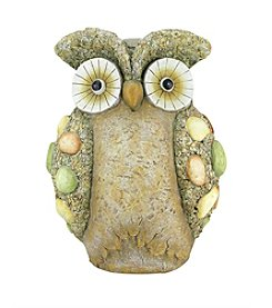 Weathered Earth Tone Rock and Stone Owl Outdoor Patio Garden Statue