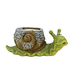 Young Gnome Green and Brown Snail Outdoor Patio Garden Statue and Weathered Planter