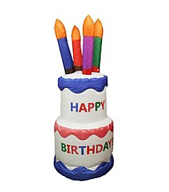 4' Inflatable Lighted Happy Birthday Cake Yard Decoration