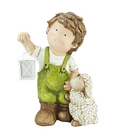 Young Gnome Boy with Lamb and Lantern Outdoor Patio Garden Statue