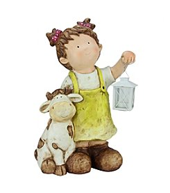 Young Gnome Girl with Cow and Lantern Outdoor Patio Garden Statue