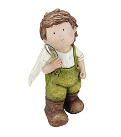 Young Gnome Boy with Fishing Net Outdoor Patio Garden Statue
