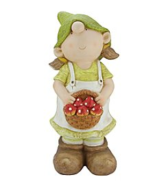 Young Gnome Girl Holding a Basket of Mushrooms Outdoor Patio Garden Statue
