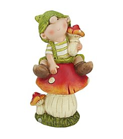 Young Gnome Boy Sitting on a Mushroom Outdoor Patio Garden Statue