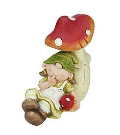 Young Gnome Girl Under a Mushroom Outdoor Patio Garden Statue