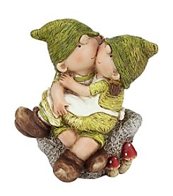 Young Gnome Boy and Girl Sitting on a Stone Outdoor Patio Garden Statue