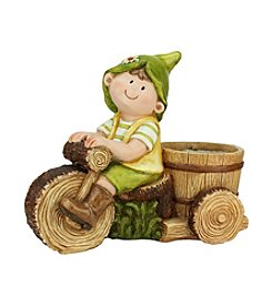 Young Gnome Boy Rides Tree Bicycle with Flower Pot Outdoor Patio Garden Statue