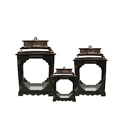 Set of 3 Elegant Serenity Black and Copper Glass Candle Lanterns