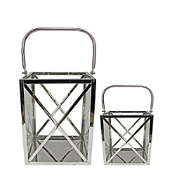 Set of 2 Modern Elegance Metal and Glass Cube Candle Lanterns