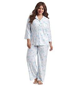 KN Karen Neuburger Plus Size Button Up Pajama Set