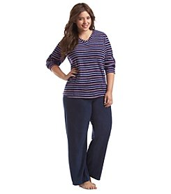 Intimate Essentials® Plus Size Long Sleeve Stripe Fleece Pajama Set