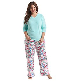 Intimate Essentials Plus Size V Neck Pajama Set