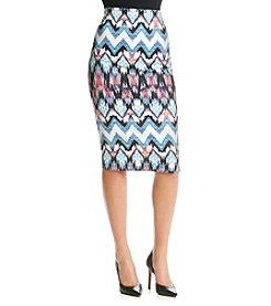 Sequin Hearts® Geo Print Scuba Midi Skirt