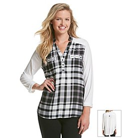 Sequin Hearts® Plaid Utlity Shirt